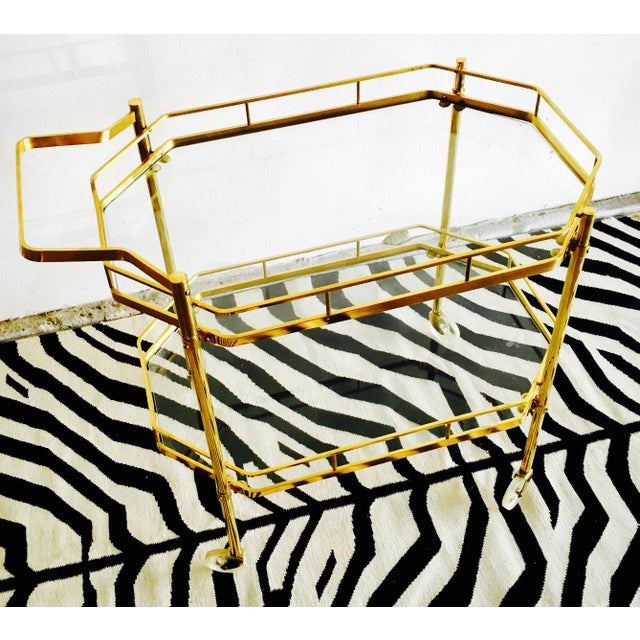Image of 1960's French Brass Bar Cart