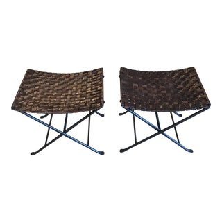 Woven Leather Foldable Stools - A Pair