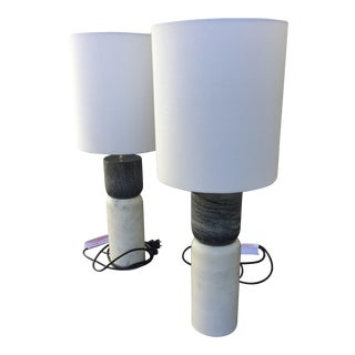 CB2 Marble and Stone Table Lamps - Pair
