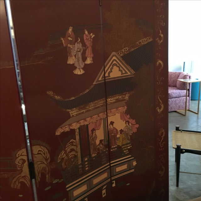 Signed Maitland Smith Four-Panel Asian Themed Wood and Brass Screen - Image 8 of 11