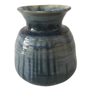 Blue Glazed Ceramic Vase