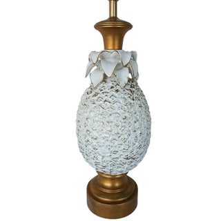 Hollywood Regency White Pineapple Lamp