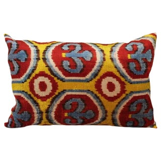 Red, Blue and Yellow Silk Velvet Accent Pillow