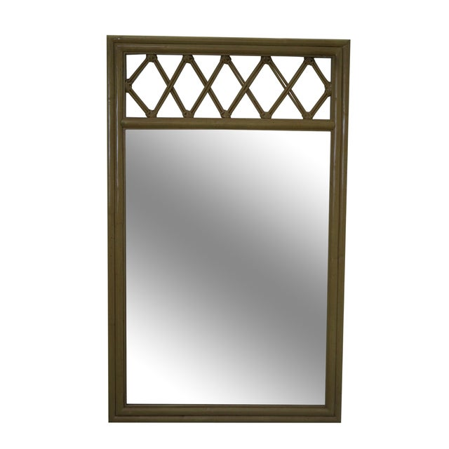 Image of Ficks Reed Vintage Painted Rattan & Bamboo Mirror
