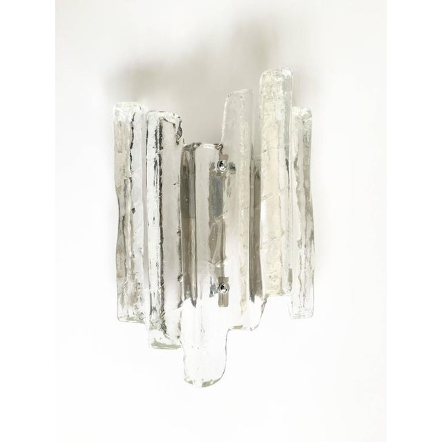 Image of Glass Ice Glass Sconce In the Style of Kalmar