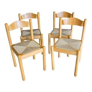 Mid-Century Style Italian Rush Seat Dining Chairs - Set of 4
