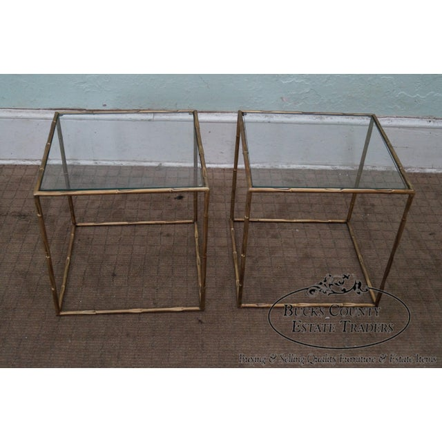 Italian Gold Gilt Iron And Glass Faux Bamboo Metal Square: Hollywood Regency Bamboo Gilt Metal Tables -A Pair