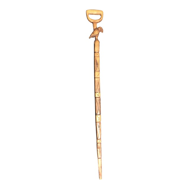 Image of Hand Carved Vintage Walking Stick with Parrot