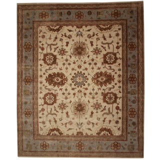 "New Hand Knotted Wool Oushak Rug - 12'2"" X 14'10"""