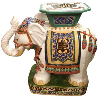 Charming Ceramic Hand-Painted Elephant Garden Seat Table
