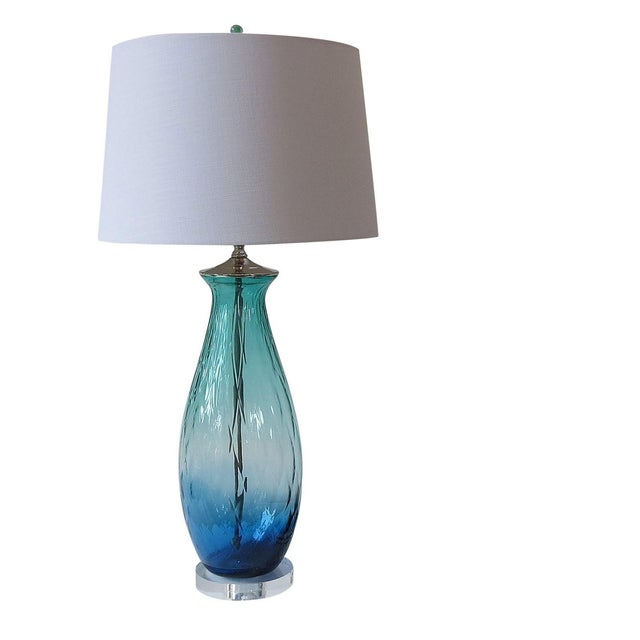 Turquoise Green/Blue Tall Blown Glass Lamp - Image 1 of 4