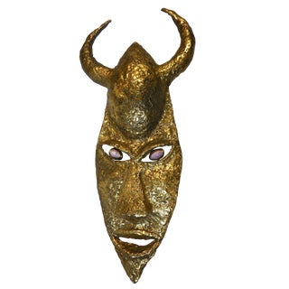 French Bronze Mask Wall Sculpture