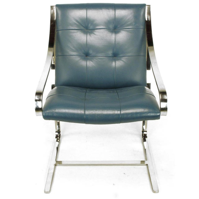 Four Bert England for Brueton Polished Steel & Cadet Blue Leather Lounge Chairs - Image 3 of 10