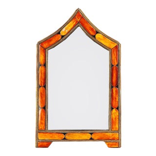 Orange Arched Bone Mirror