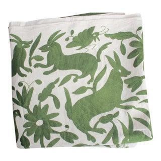 Green Otomi Tenango Coverlet or Tablerunner