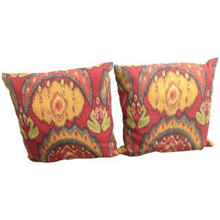 Colorful Outdoor Ikat Pillows - A Pair