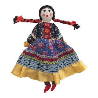 Vintage Handmade Boho Guatemalan Doll in Huipil Dress