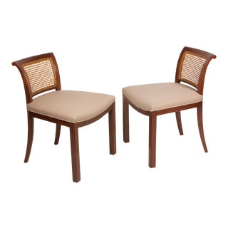 Pair of Caned Back Low-Back Chairs, American, 1950s