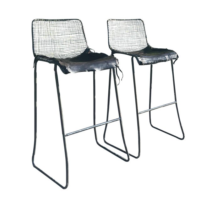 Industrial Inspired Bar Stools - A Pair - Image 1 of 7