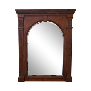 Ethan Allen Light Pine Arch Beveled Glass Mirror