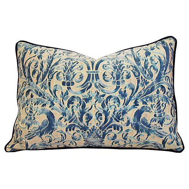 Custom Designer Italian Fortuny Uccelli Feather/Down Pillows - Pair - Image 9 of 10