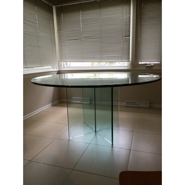 X-Base Round Top Glass Dining Table - Image 3 of 7