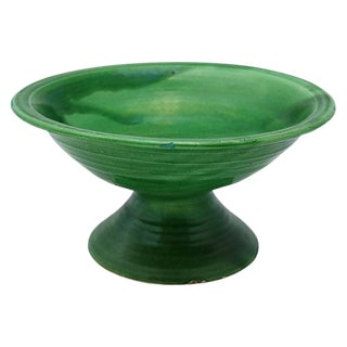 French Emerald Glaze Footed Bowl