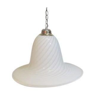 Murano Style White Swirl Glass Pendant Light