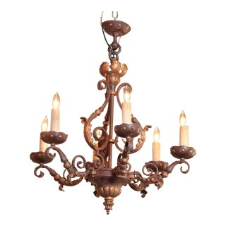 19th Century French 6-Light Iron Chandelier with Verdigris & Gilt Finish