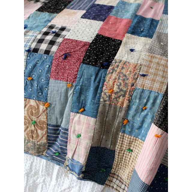 Vintage Hand-Tied Patchwork Quilt - Image 7 of 10