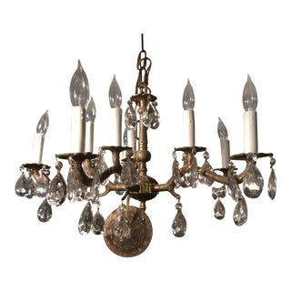 Cast Brass & Crystal Chandelier