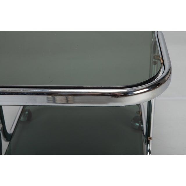 Mid-Century Black Glass Chrome Bar Cart - Image 6 of 6