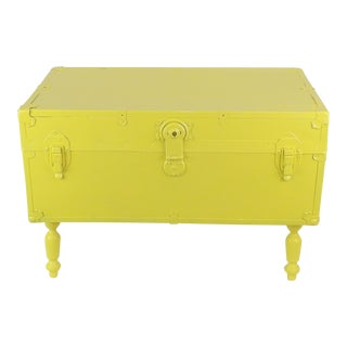Antique Yellow Steamer Trunk Coffee Table