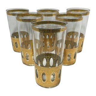 Mid-Century Culver Gold High Ball Glasses - S/6