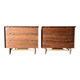 Pair of Mid Century Refinished Walnut Compact Dressers with Sculpted Legs
