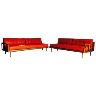 Mid-Century Orange Vinyl Day Bed Sofa Set