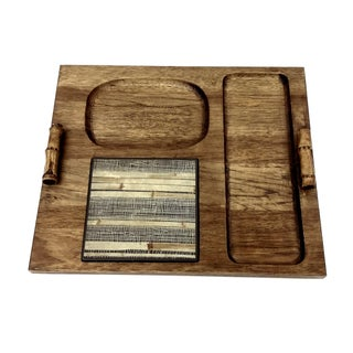 Mid-Century Wood Compartment Tray