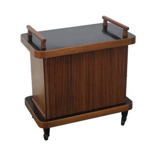 Mid-Century Tambour Door Rolling Server Bar Cart