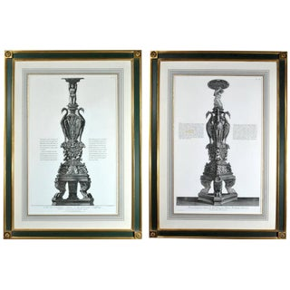 Giovanni Battista Piranesi Pair of Monumental Framed Etchings of Candleabra.