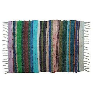 Green Moroccan Boucherouite Carpet - 2' x 3'