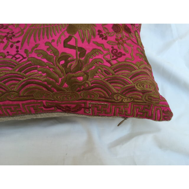 Chinoiserie Pink Silk Crane Boudoir Pillow - Image 4 of 7