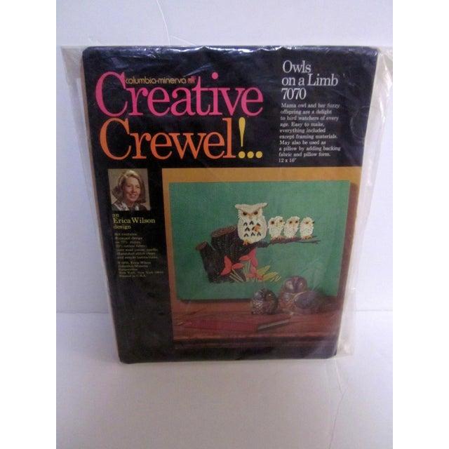Owl Needlepoint Crewel Wall Pillows - Set of 3 - Image 5 of 5
