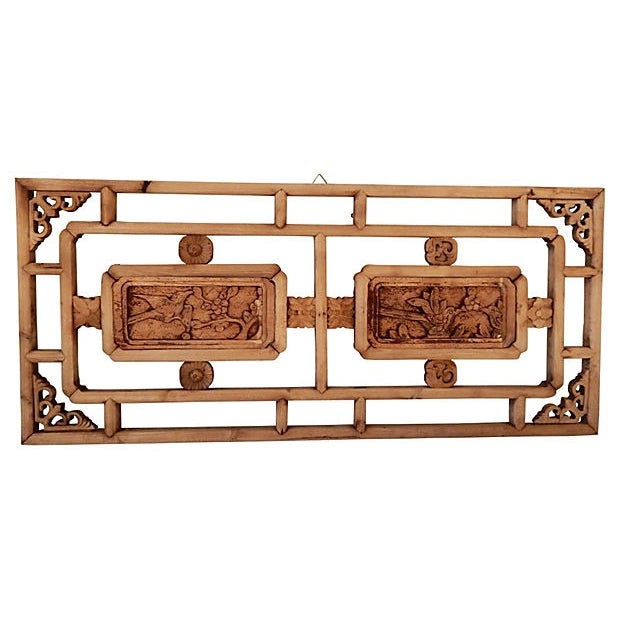 Image of Antique Asian Hand-Carved Wood Panel