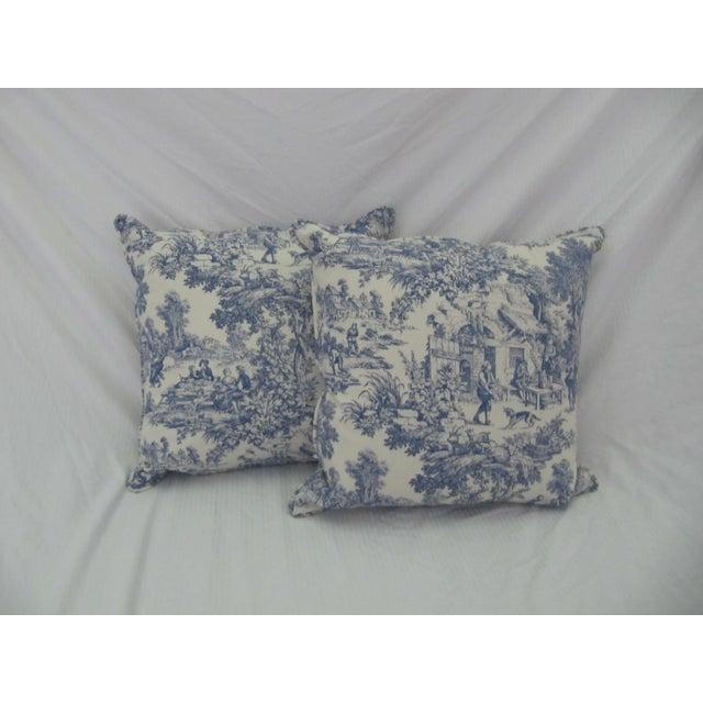 Blue & White Toile De Jouy Pillows - A Pair - Image 9 of 9