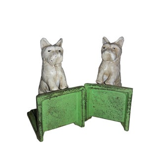 White Scottie Dog Cast Iron Bookends - A Pair