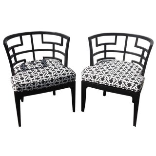 Pop of Black Barrel-Back Chairs - A Pair