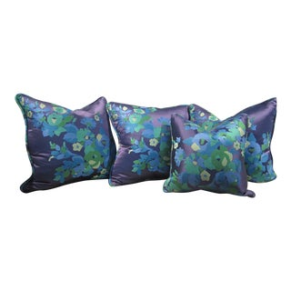 Navy Floral Pillows - Set of 4