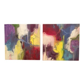"""Kelly O'Neal """"Primary Colors"""" Diptych Painting"""