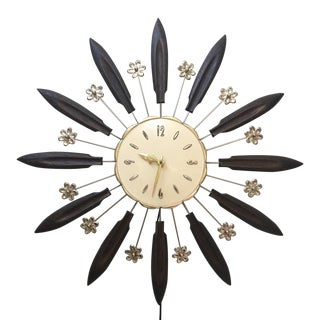 Hollywood Regency Robert Shaw Starburst Wall Clock