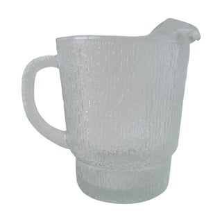 Mid-Century Textured Large Glass Pitcher